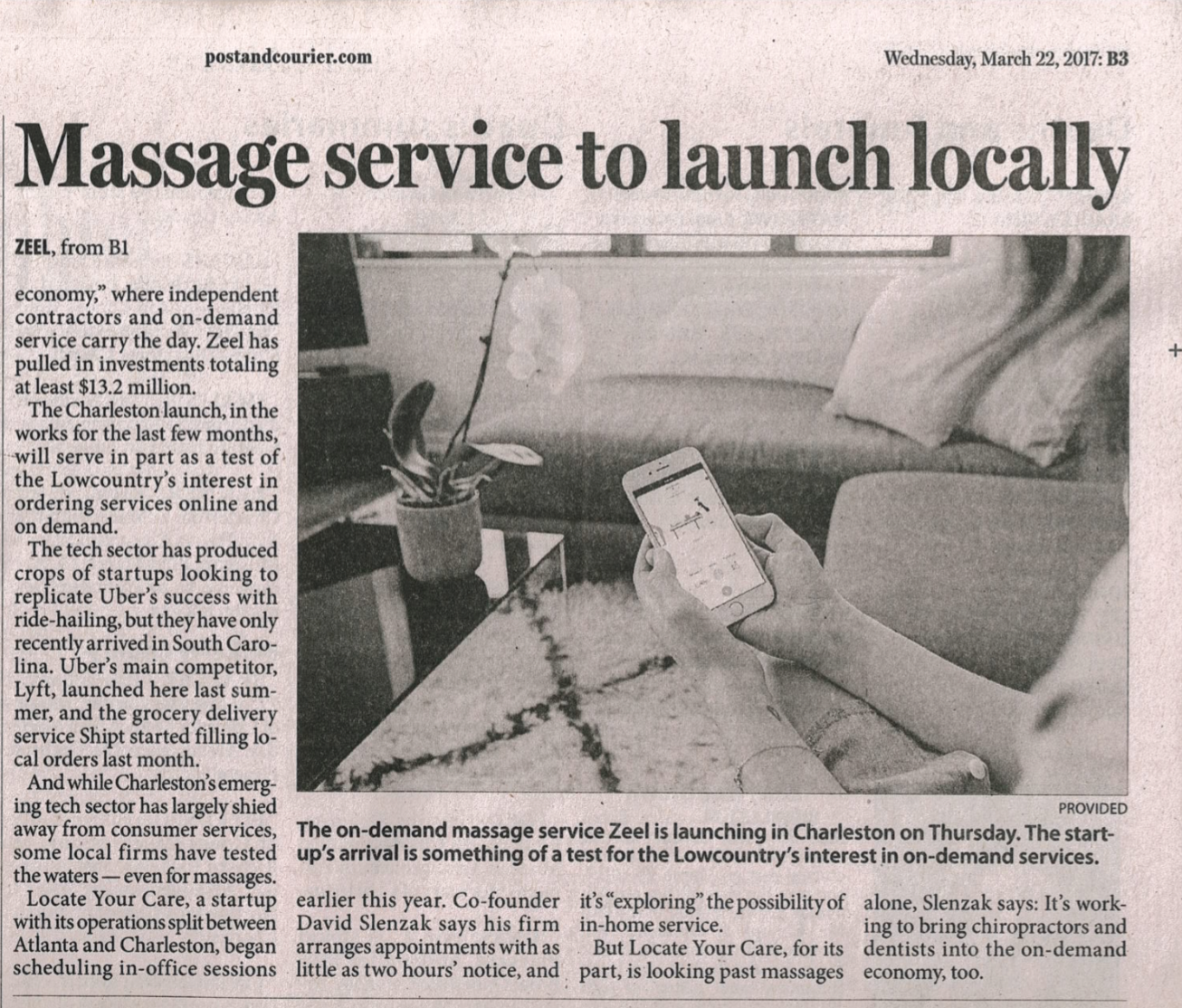 Massage service to launch locally