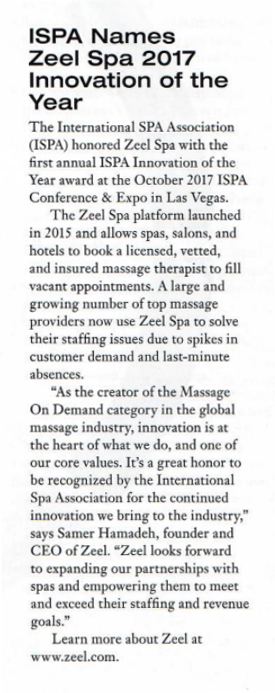 ISPA Names Zeel Spa 2017 Innovation of the Year