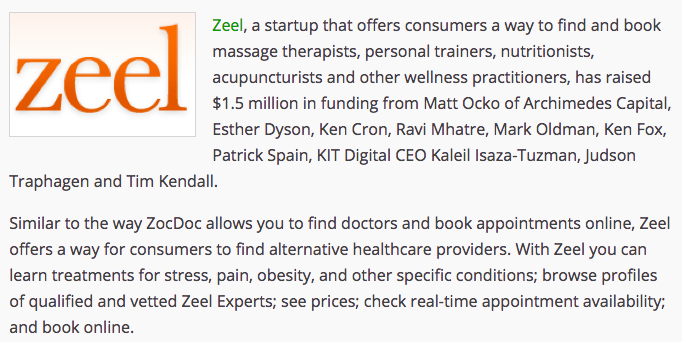 Zeel Launches As A Booking Engine For Alternative Healthcare Providers