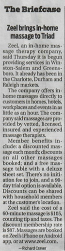 Zeel brings in-home massage to Triad