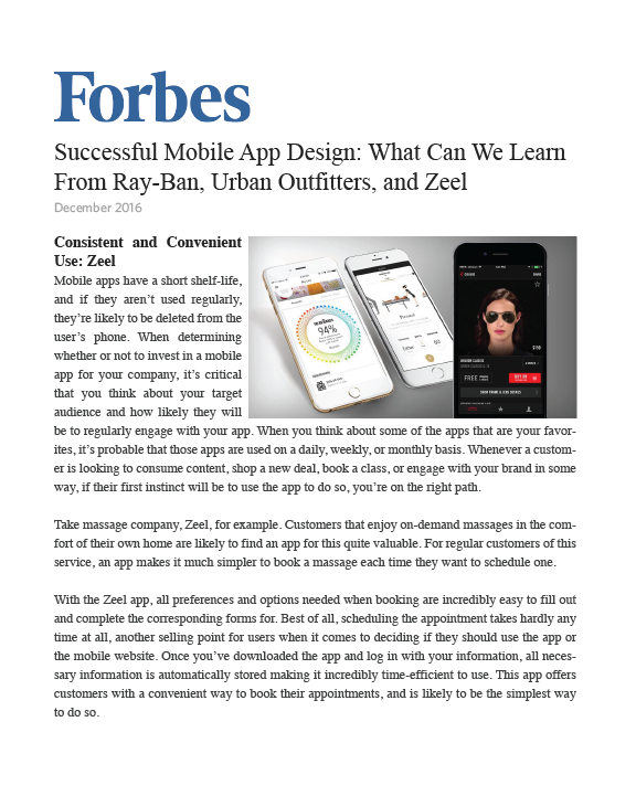 Successful Mobile App Design: What Can We Learn From Ray-Ban, Urban Outfitters, and Zeel