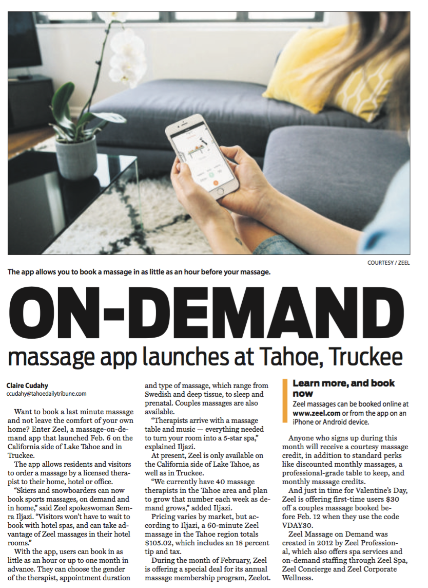 On-demand massage app launches at Lake Tahoe, Truckee