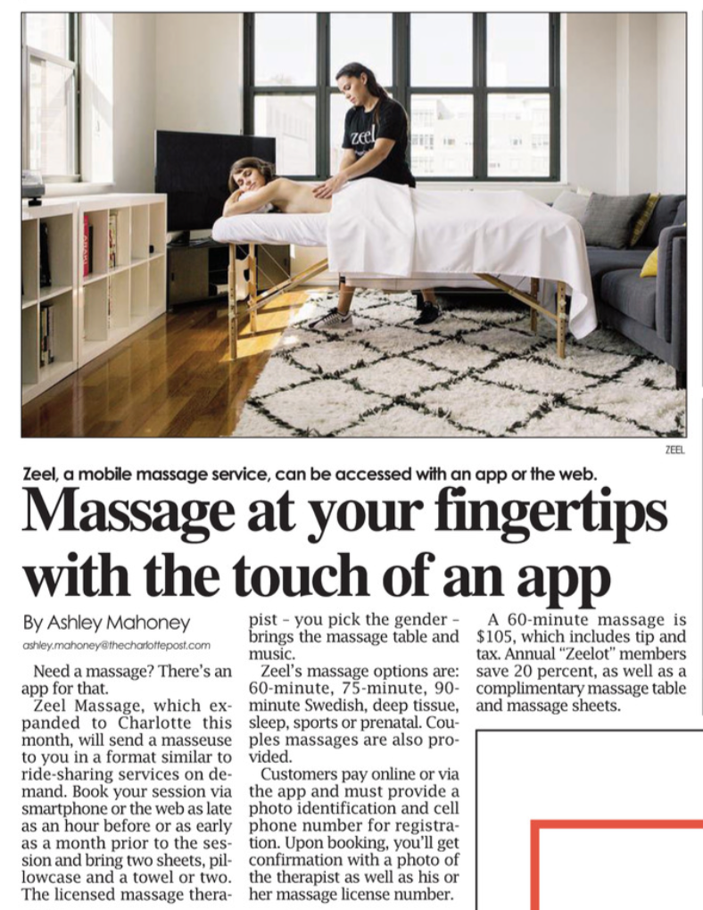 Massage at your fingertips with the touch of an app